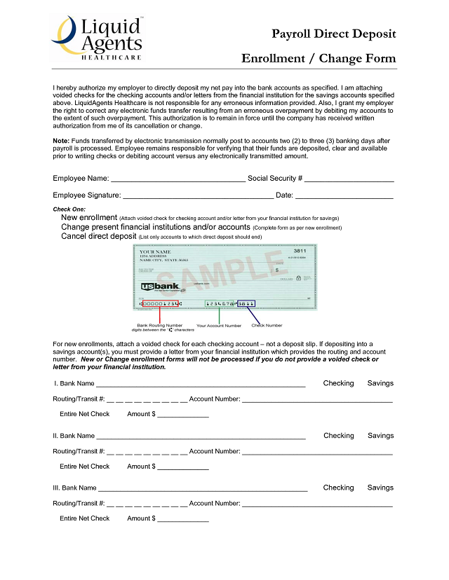 Direct Deposit Sample Form
