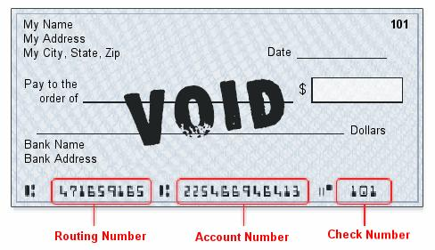 void check for direct debit with routing number